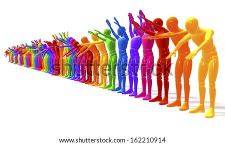 applauding, colorful line of people, figures forming a wave, perspective, 3d rendering isolated on white background - stock photo