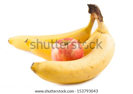 apple and banana on white background