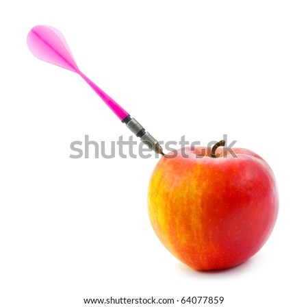 Apple and darts arrow isolated on white background