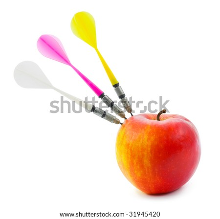 Apple and darts isolated on white background