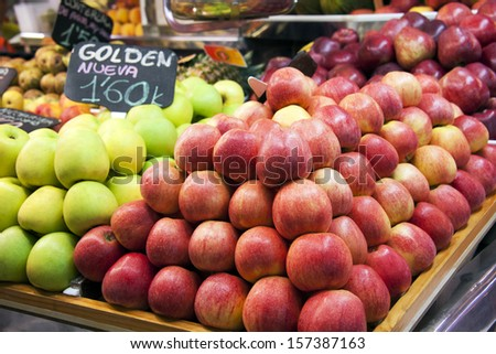 Apple and fresh fruits  in a spanish market