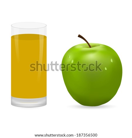 apple and glass of juice - stock photo