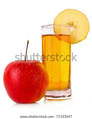 Apple and glass with juice isolated on white