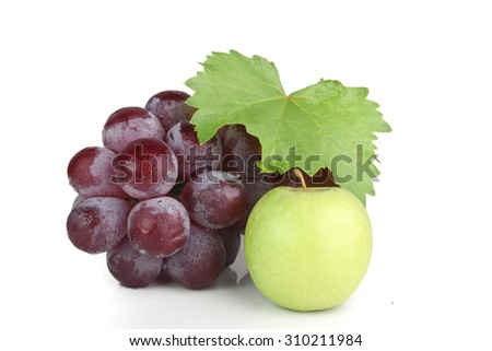 Apple and Grapes with White Isolated Background - stock photo