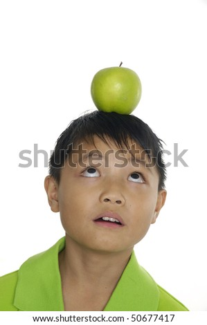 apple and head - stock photo