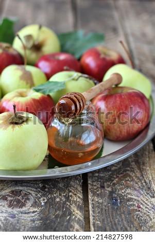 Apple and honey - stock photo