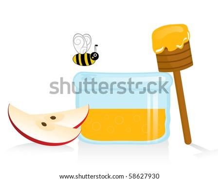 Apple and Honey on White Background - stock photo