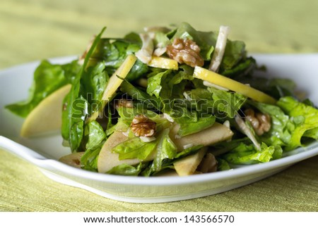 apple and nut salad - stock photo