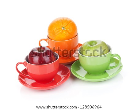 Apple and orange fruit tea. Isolated on white background