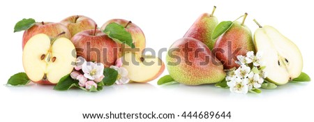 Apple and pear apples pears fruit red fresh fruits slice isolated on a white background - stock photo