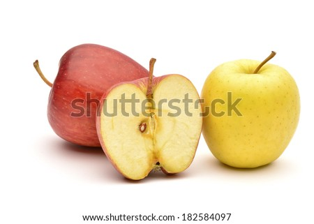 Apple and slice on a white background