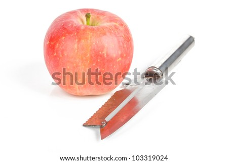 Apple and stainless steel knife