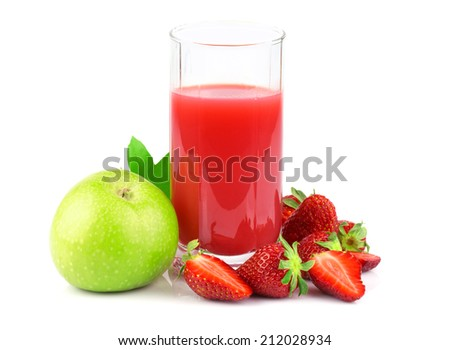 Apple and strawberry juice in glass with fruits isolated on white background - stock photo