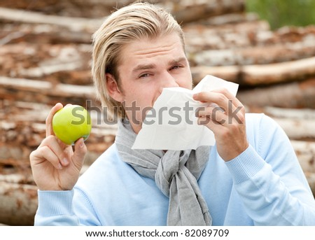 apple and tissue - stock photo