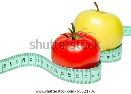 Apple and tomato on a white background. Isolated.