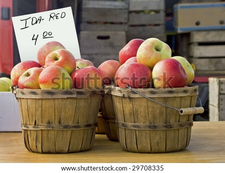 apple baskets at a farmers market - stock photo