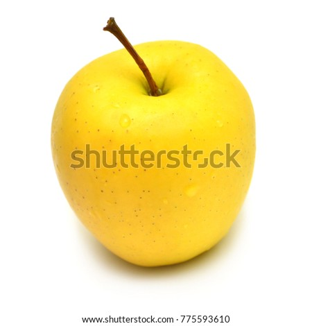 Apple beautiful yellow varieties Golden Delicious isolated on white background