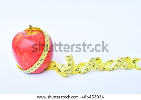 Apple bind with tape measure concept loss weight