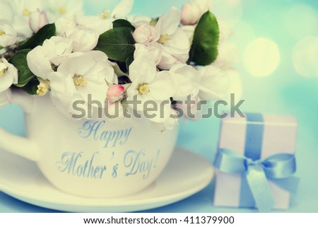 Apple blossom flowers in vase with gift box for Mother's Day. - stock photo