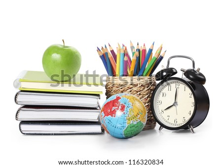 apple, books and colored pencil on a white background - stock photo