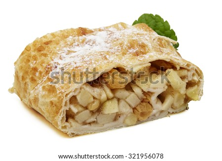 Apple cake strudel studio shooting isolation with shadow on white background with pen clipping path included