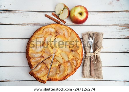 Apple cake with cinnamon on rustic white table - stock photo