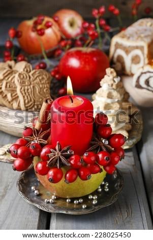 Apple candle holder - christmas home decor - stock photo