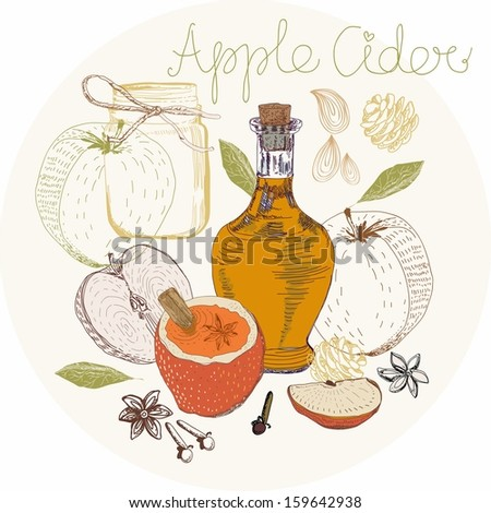 Apple Cider background, traditional Xmas food
