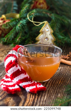 Apple cider rum punch. Hot drink for a fun and festive christmas holiday - stock photo