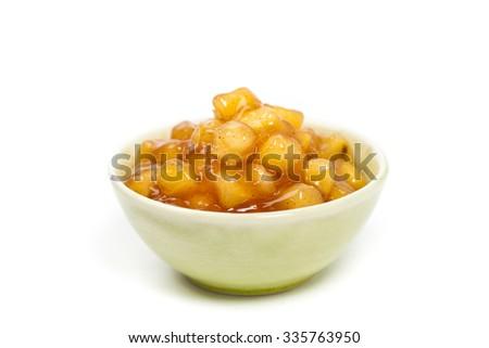 Apple Cinnamon Pie Filling on white background. Selective focus. - stock photo