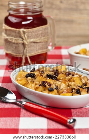 Apple Cobbler Crisp. Selective focus. - stock photo