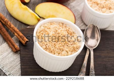 Apple crumble dessert - stock photo