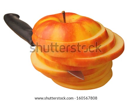 apple cut to slices with the knife - stock photo