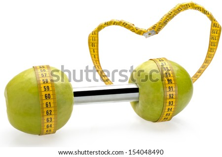 Apple dumbbell, carrying out a healthy lifestyle, a diet and exercises with love