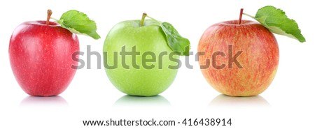 Apple fruit apples fruits in a row red green isolated on a white background - stock photo