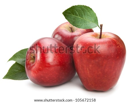 apple fruit closeup isolated on white background - stock photo