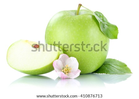 Apple fruit green slice isolated on a white background
