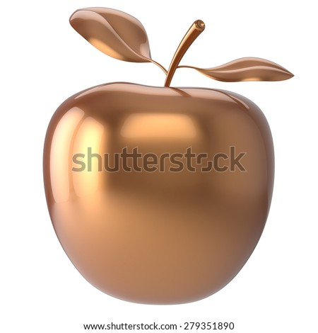 Apple golden fruit nutrition antioxidant fresh ripe exotic agriculture icon luxury gold. 3d render isolated on white background - stock photo