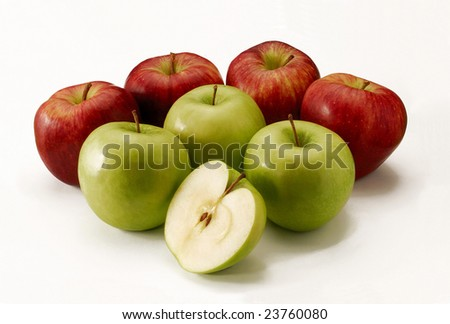 Apple group.Green apples and red apples.