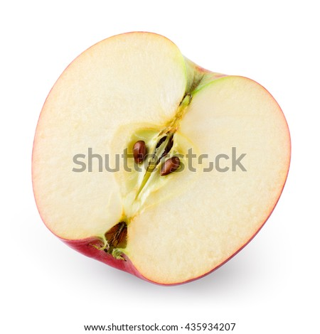 Apple. Half isolated on white. Top view. With clipping path.