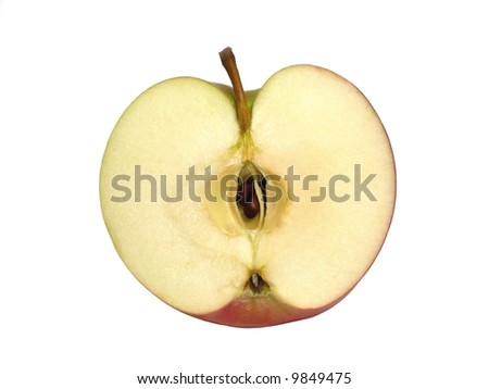 Apple half isolated over a white background