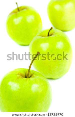 Apple in detailed view of white background
