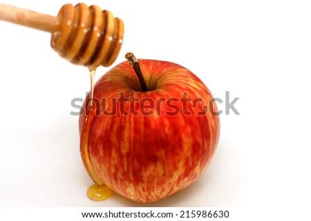 Apple in Honey - Rosh Hashanah - Jewish New Year - stock photo