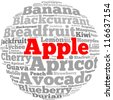 Apple info-text graphics and arrangement concept on white background (word cloud) - stock photo