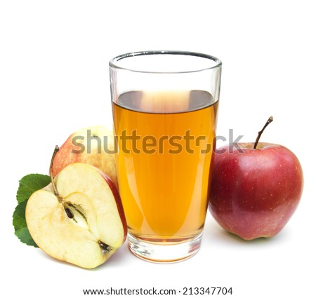 Apple juice and fresh apples on a white  background