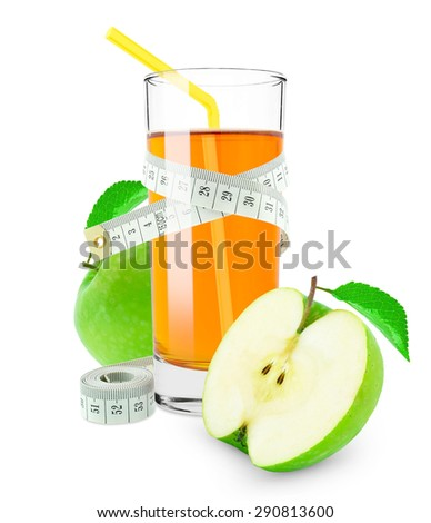 apple juice and meter isolated on white background