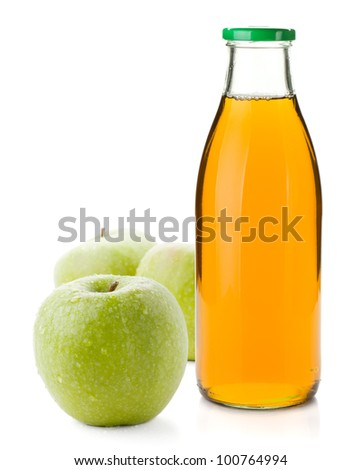 Apple juice in a glass bottle and three ripe apples. Isolated on white background
