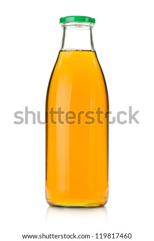 Apple juice in a glass bottle. Isolated on white background - stock photo