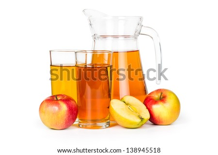 Apple juice in a glass jar isolated on white background. - stock photo