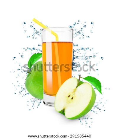 apple juice in a glass splash isolated on white
